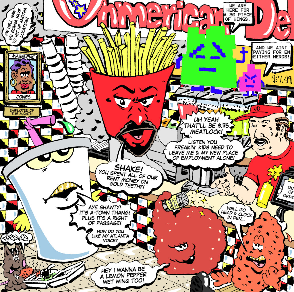 ATHF 'Uhmerican Deli' Comic  <br> by @freakorico for [adult swim] <br> Creative direction <br> by Elijah Watkins